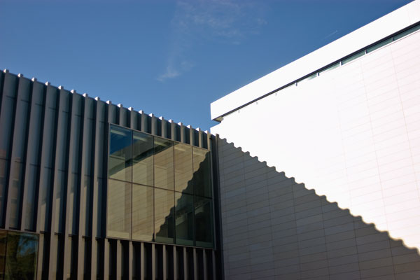 Inside corner and roof edge of the new University of Michigan Art Museum